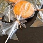 Orange and Black Halloween Lollipop Cookies