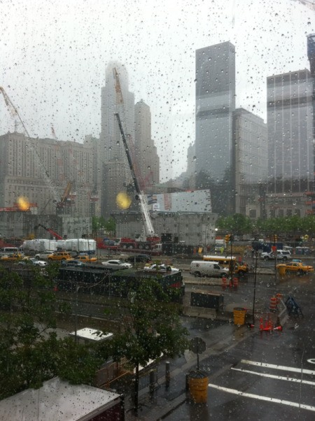 A close up of the construction of the World Trade Center and 911 Memorial.