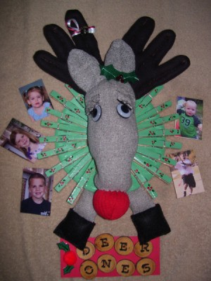 Finished deer photo wreath.