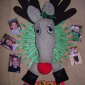 Finished deer photo wreath.