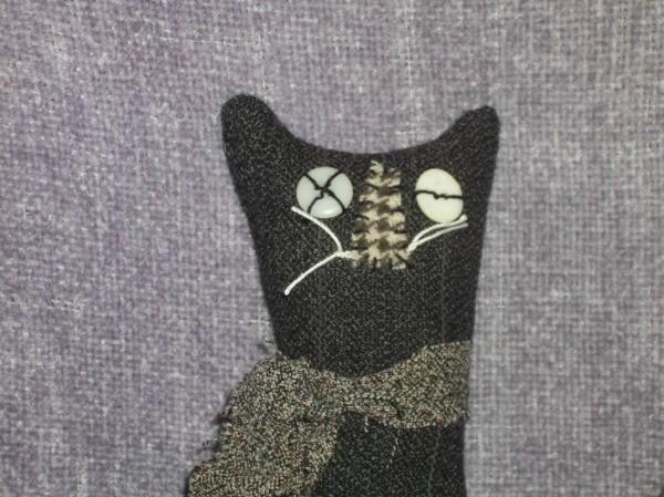 Primitive Halloween Cats Closeup of Cat 1