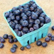 Blueberries in a berry basket.
