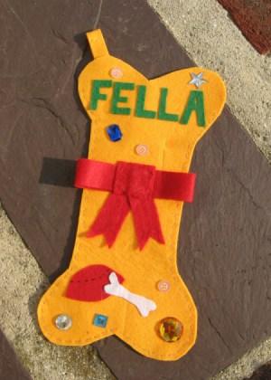 Yellow Bone Shaped Dog Christmas Stocking