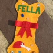 Yellow Bone Shaped Dog Christmas Stocking