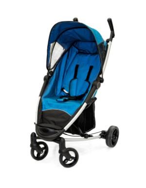 A blue baby stroller.
