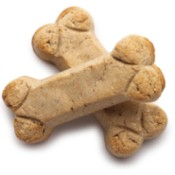 Two bone shaped dog biscuits