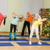 People in an exercise class.