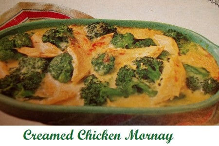 Creamed chicken mornay with broccoli.