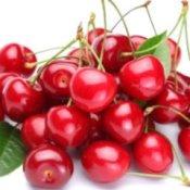 Pile of red cherries.