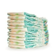 Pile of baby diapers.