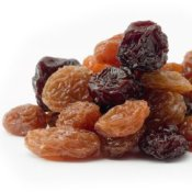 Pile of different kinds of raisins.