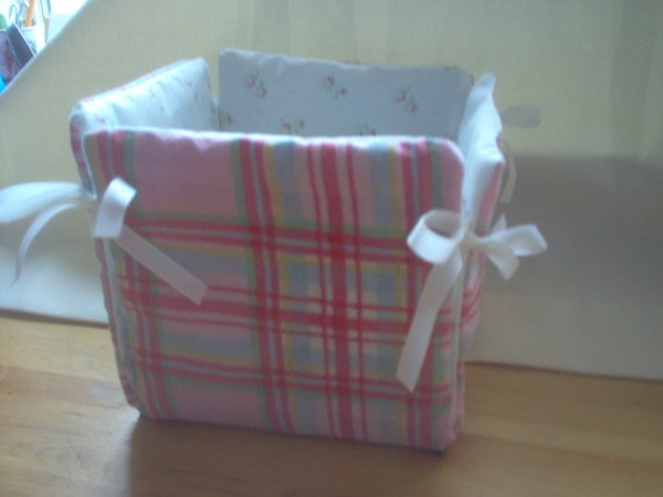 Fabric Box with ribbon ties