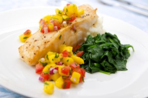 Mango Salsa on Sea Bass