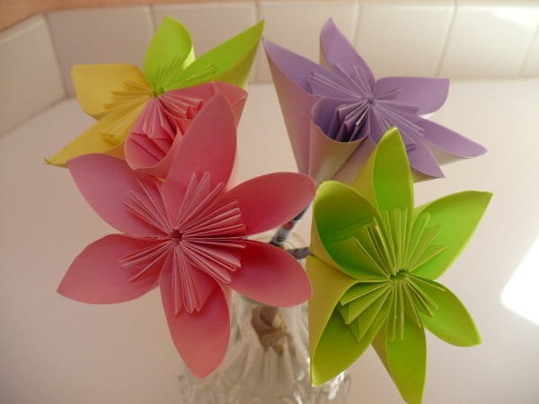 Making an origami paper flower thriftyfun bouquet of paper flowers that includes one pink flower one purple flower one green mightylinksfo