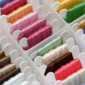 Organized Embroidery Floss Spools.