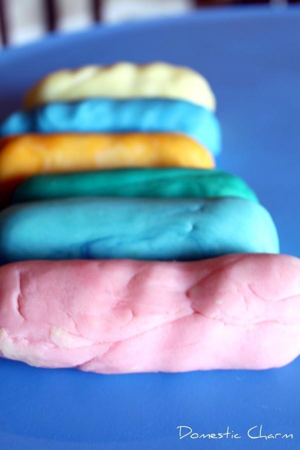 Rolls of colorful homemade playdough