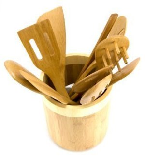 Wooden Utensils in wooden jar