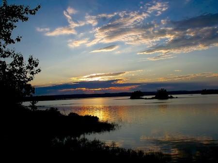 Sunset Over Graham Lake in Ellsworth Maine