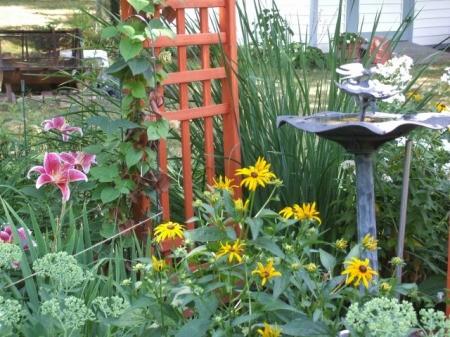 Birdbath and Trellis in Moveable Garden
