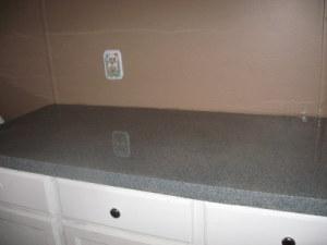 Faux granite countertops.