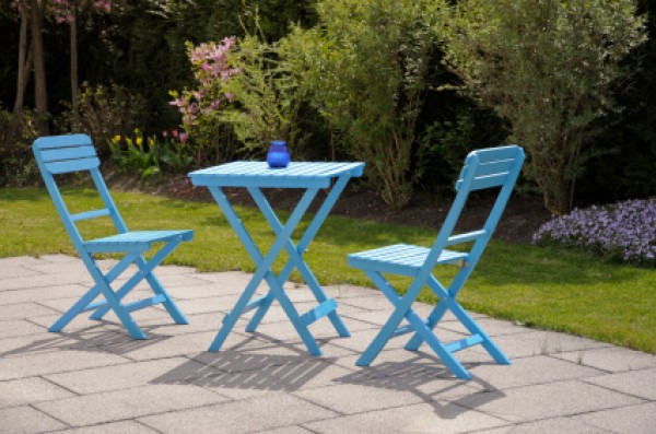 Blue Chairs And Table On Patio