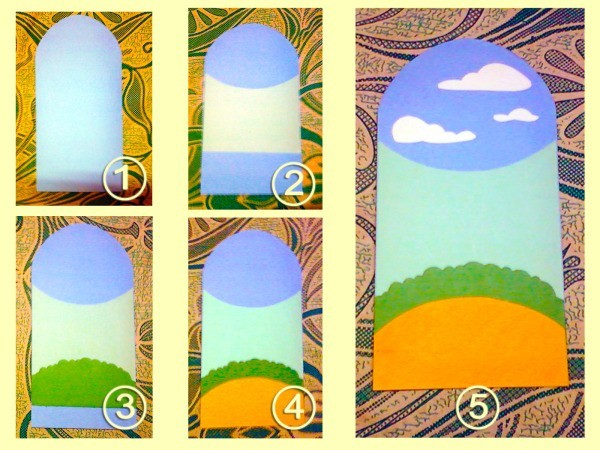 Series of step by step painted background images for cards