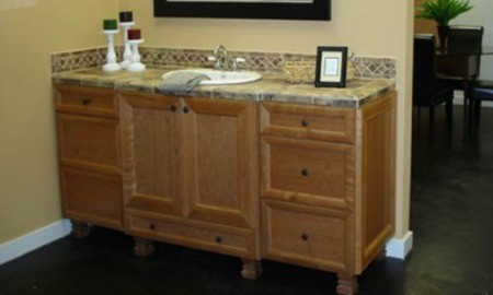 Bathroom sink and cabinet.