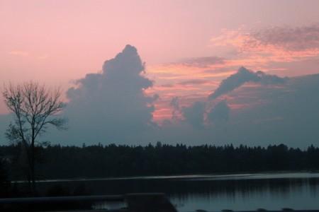 Crimson Sky Sunset at Potash Lake, Ontario, Canada