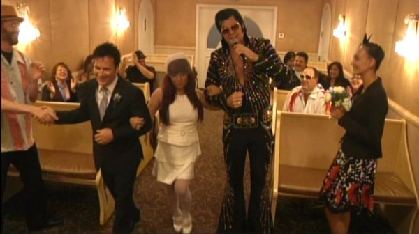 Elvis Impersonator Walking Bride And Groom Down Aisle
