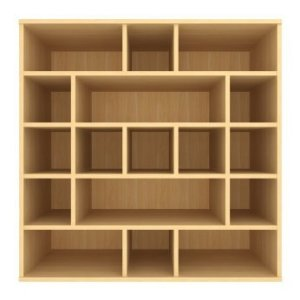 Shelving composed of multisized cubes and rectangles.