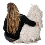 Backs of a Girl and Standard Poddle with Dreadlocks
