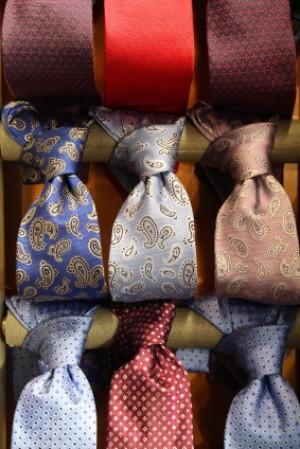 Neckties Tied to a Wooden Dowel