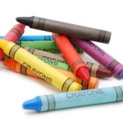 Crayons in disarray.