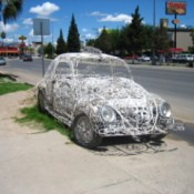 Car Decorated With White Iron Work in Mexico
