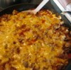 A skillet supper with hamburger, cheese and macaroni.