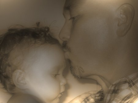 Grandfather Kissing Granddaughter on the Forehead