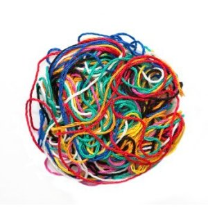 Ball of various colored embroidery floss.