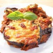 Plate of eggplant Parmesan.