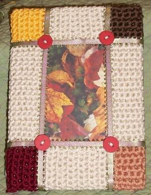 crochet frame in fall colors