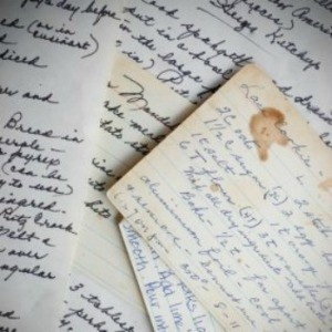 Creating a Family Cookbook, Scattering of handwritten recipes including the occasional food spots.