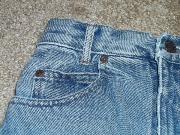 Close up of blue jeans pocket area.