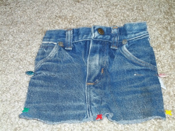 Cut off pair of blue jeans.