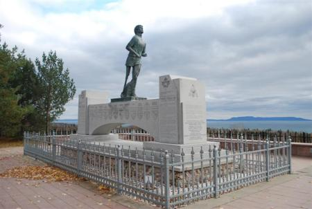 Terry Fox Statue from Side View