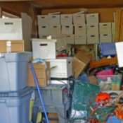 Garage Full of Boxes and Clutter