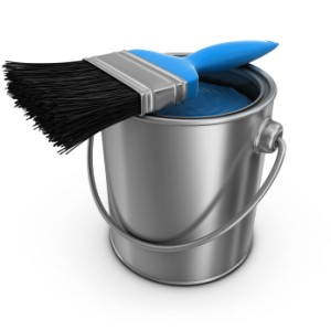 Paint Brush and Paint Bucket
