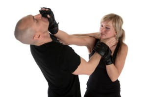 Woman Learning self Defense Against Male Attacker