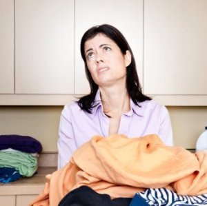 Woman frustrated with laundry