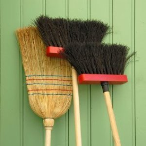 Three brooms leaning against a green wall.