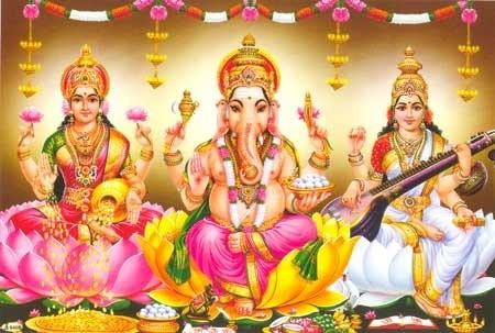 Hindu deities including Laxmi.
