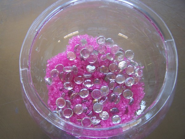 Fish Bowl with Gems and Pink Sand